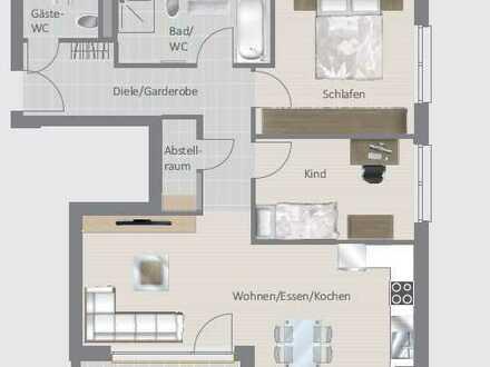 Neubau-Wohnung mit EBK (77 m²) und tollem Südbalkon!