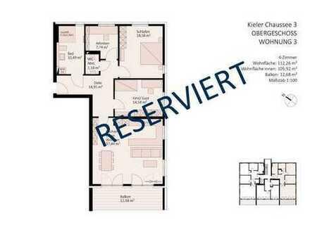 RESERVIERT - 4-Zimmer-Wohnung im Zentrum Gettorfs mit offener oder optional geschlossener Küche