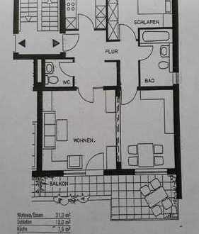 Stilvolle, gepflegte 3-Zimmer-Dachgeschosswohnung mit Balkon und Einbauküche in Darmstadt