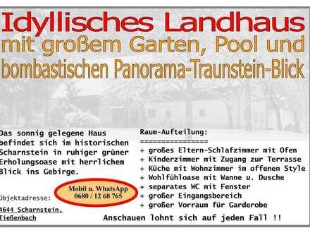 Idyllisches Landhaus mit Garten inkl. Pool und bombastisch Panorama-Gebirgsblick in 4644 Scharnstein zu Mieten