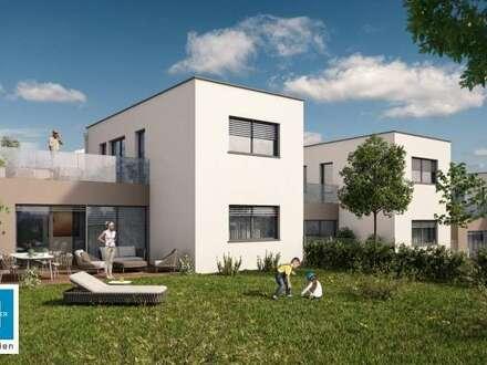 MEIN HAUS - grün & urban in Grieskirchen - moderne, geförderte Doppelhauseinheit mit 104m² Wohnfläche sowie Keller und Doppelgarage