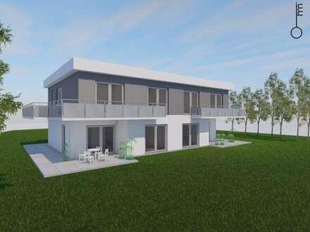 Neubau-Doppelhaushälfte mit 300 m² Südost-Garten & Doppelcarport