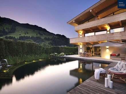 Modernes Chalet mit großzügiger Raumaufteilung, bezauberndem Innenleben und kleinem Teich!