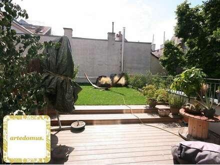 LOFT LOVERS! Topmoderne 2 Zi Designer- Loft- Wohnung mit 80m² TERRASSE und Dachgarten! RUHE und Gartenblick an der GRENZE zum 6. BEZIRK nahe MARIAHILFERSTRAßE und WESTBAHNHOF!