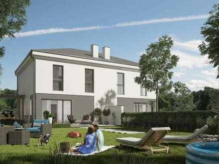 moderne Doppelhaushälfte mit VOLLKELLER im ökonomischen Villenbaustil