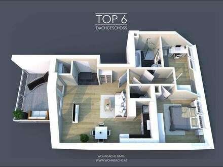 Neubau Stadtvillenwohnung | 70m² WFL + 12m² Balkon | Top 6 Dachgeschoss