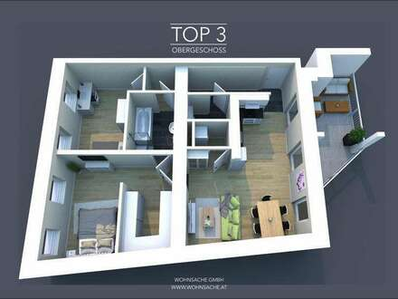 Neubau Stadtvillenwohnung | 79m² WFL + 14m² Balkon | Top 3 Obergeschoss