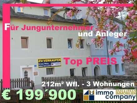 Für Jungunternehmer oder Anleger: Stadtreihenhaus mit 3 attraktiven Wohnungen und guter Renditemöglichkeit
