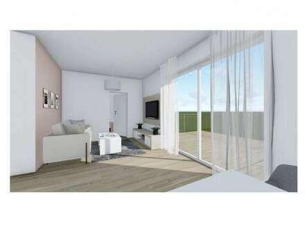 Kleine, aber feine Zwei-Zimmer-Obergeschoßwohnung mit ostseitiger Dachterrasse und großem Eigengarten