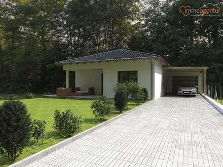 Bungalow 102m² Ziegelmassiv BAUMEISTERHAUS, TOPAUSSTATTUNG + Garage + Carport