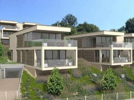 AUEN VILLEN am Wörthersee: Traumhaftes Penthouse mit großer Terrasse und einzigartigem Seeblick, eigener Seegrund, TG, Pool