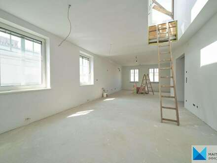 BELAGSFERTIG | KEINE DACHSCHRÄGEN: Wohnung mit 103m2 Dachterrasse in Gersthof | optional 76m²-Souterrain als Lager/GF-Lokal!