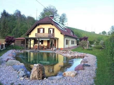 Wunderschönes Haus mit Naturpool, Sauna und Nebengebäude