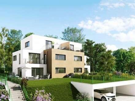 Modernes Doppelhaus mit großem Grundstück mit Obstbäumen und Wiese und einem herrlichen Fernblick