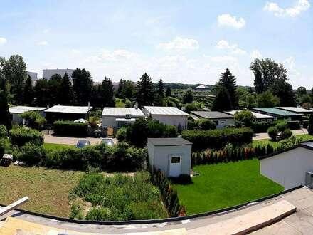 TRAUMAUSBLICK über den DONAU-ODER-KANAL! 4 Zimmer + Wohnküche mit Garten und Dachterrasse!!