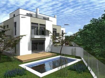 Garten mit Swimmingpool + 42 m² Dachterrasse rundherum + 2 Balkone! NFL 232 m² mit 8 RÄUMEN + 2 KFZ-Plätze!