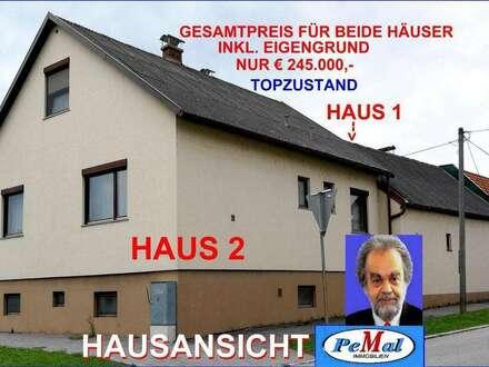 *ECHTER WERTKAUF* 2 EINFAMILIEN-HÄUSER(gekoppelt) HAUS 1: 3 Zi, Diele, Küche/Essplatz, Fliesenbad, 2 WC+NR, HAUS 2: 5 Zi, Diele, Küche/Essplatz, 3 Bäder, 3 WC+NR, Vollkeller+GARAGE, Zentralheizung, auf einem 447 m² EIGENGRUND, NUR 24km/WIEN/S-BAHN