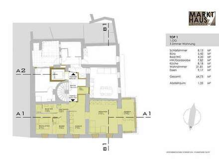 Markthaus Mondsee - Neu renovierte 3 Z.Wohnung