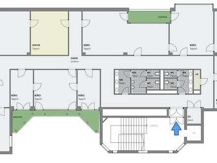 Klimatisierte Bürofläche mit 7 Zimmern, 2 Loggias & Balkon - zentrale Lage | Garagenplätze optional
