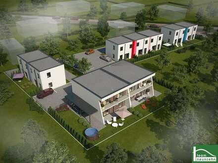 Tolle Doppelhaushälfte mit Pultdach mit zwei Stellplätzen und Garten. Kunststofffenster mit Rollladen inklusive