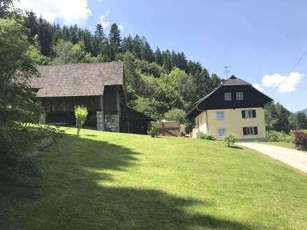 Feldkirchennähe teilsaniertes Bauernhaus in Alleinlage mit 3.425 m² Grund