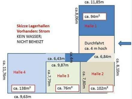 ca. 94m² Lagerhalle € 470, - mtl.