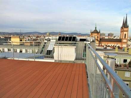 PENTHOUSE im 7. Bezirk 160 m² Wohnfläche und 4 Terrassen mit insgesamt 101 m² / 360° Panorama-Blick über die Dächer von Wiens