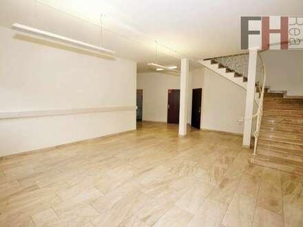 Geschäftslokal/Büro/Praxis auf 2 Ebenen, hohe Frequenzlage, gesamt 280m² + Freiflächen und Parkplätze!