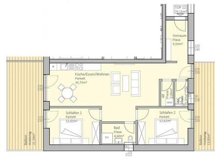 Sonnige, neue Seeblick-Wohnung mit 79 m² Wohnfläche und 35 m² Terrasse am Klopeiner See, Top 12, 2.OG - keine Maklerprovision