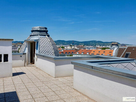 Direkt am Karmelitermarkt! Erstbezug mit 125 m2 Dachterrasse 3-Zimmer-Dachgeschoss-Wohnung mit Panoramaterrasse