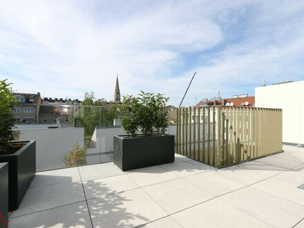 DACHGESCHOSS LUXUS-ERSTBEZUG, 3 Zimmer, West-Terrasse 19,37 m², Pauschale allinklusiv Miete, Maßeinbau-Küche, zugfreie Deckenkühlung,…