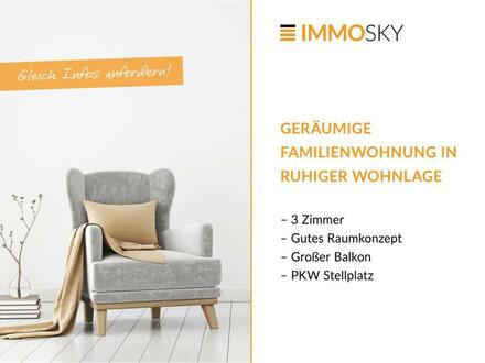 Niedrige Betriebskosten - großer Balkon - PKW Stellplatz!