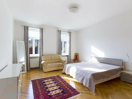 Kaufen im Sechsten: Wunderschöner 3-Zimmer-Altbau mit wertvollem Grundriss – inkl. Wohlfühl-Tipps & Balkonanbau-Plan