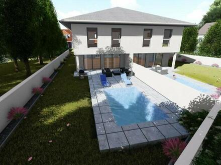 Wohlfühloase: Modernes 135 m2 Doppelhaus mit Pool in bester Wohnlage