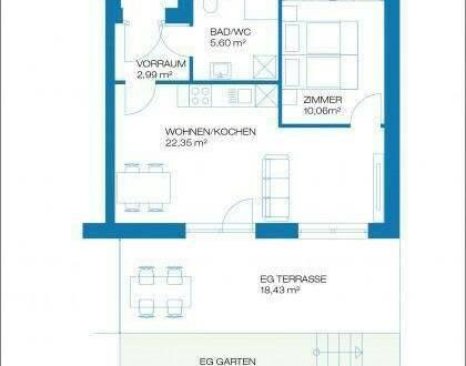 Raaba - Erstbezug - 41m² - 2 Zimmer Erdgeschoßwohnung mit Terrasse und Garten - inkl. Parkplatz