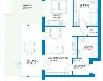 Raaba - Erstbezug - 56m² - 3 Zimmer Erdgeschoßwohnung mit Terrasse und Garten - inkl. Carport und Parkplatz