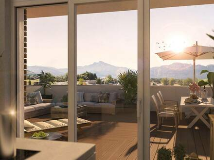 Penthouse-Traum mit Mondsee-Irrsee - 135 m² Wohnfläche, umliegender Dachterrasse mit 153 m², Lift bis in die Wohnung -…