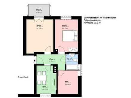 *Obergiesing*2,5 Zimmer*möbliert*Küche mit EBK*Balkon*Bad mit Badewanne*Keller*