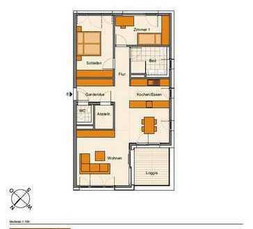 Heimelige 3-Zimmer-Wohnung mit Loggia (Whg. 6)