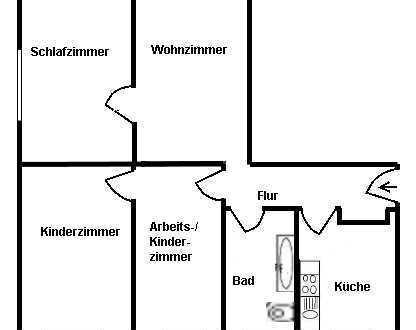 Preiswerte, vollständig renovierte 4-Zimmer-Erdgeschosswohnung zur Miete in Groitzsch