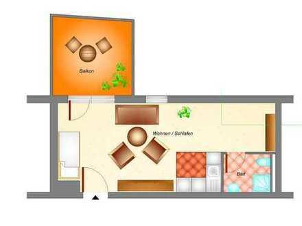 Schöne 1 Raumwohnung mit Dachterrasse