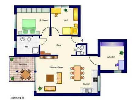 In der Beletage (mit Aufzug): 4-Zimmer-Neubau-Wohnung mit Balkon