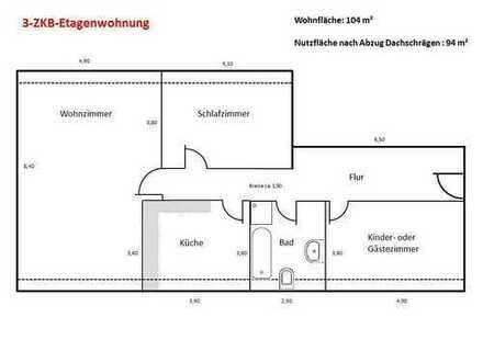 Helle 3-ZKB Dachgeschosswohnung