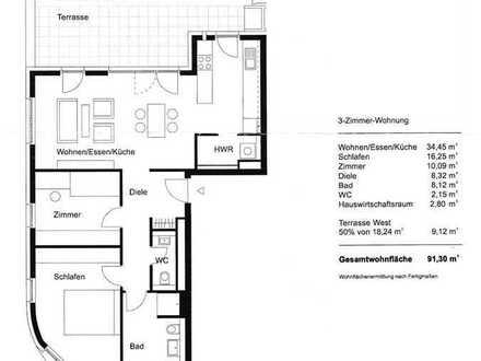 Exklusive, gepflegte 3-Zimmer-EG-Wohnung mit Garten und Terrasse und EBK in Karlsruhe