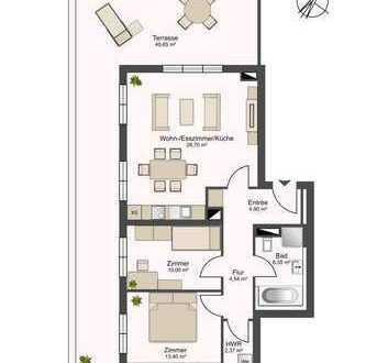 Penthouse - Erstbezug! 50m² sonnige Dachterrasse, 3 Zimmer, Fußbodenheizung mit Wannenbad