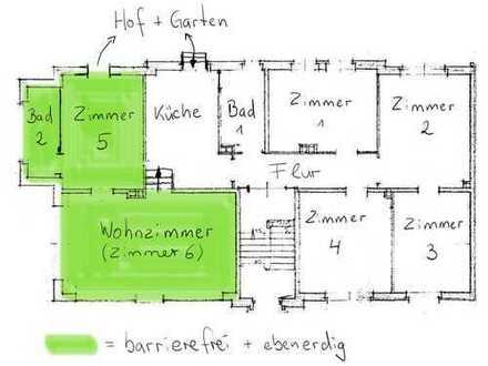 Barrierefreie 6-Zimmer-EG-Wohnung mit Garten, Terrasse und Einbauküche - Gewerbeoption vorhanden