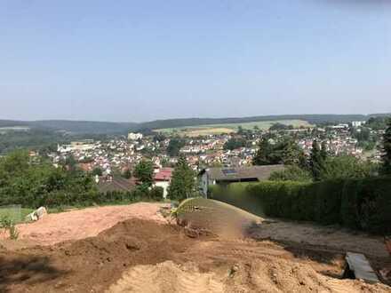 Blick über die Dächer der Kurstadt Bad König: Letztes Baugrundstück direkt am Waldrand gelegen