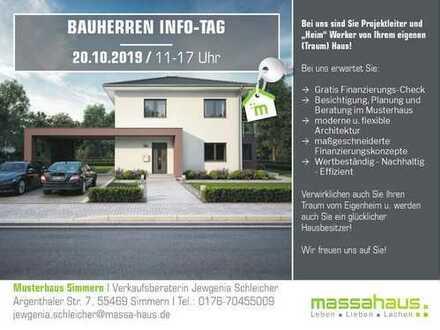 Bauherren-Info-Tag am Sonntag 20.10.19 von 11 bis 17 Uhr im Musterhaus in Simmern!