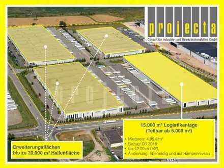 * 15.000 m² HALLE * 12 m UKB * Q1 2018 * 4,95 €/m² * ERWEITERUNG BIS 70.000 m² *