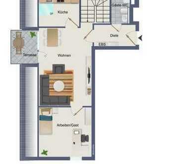 Monheim: frisch renovierte 3 Raum Maisonette / Galerie Wohnung mit Balkon